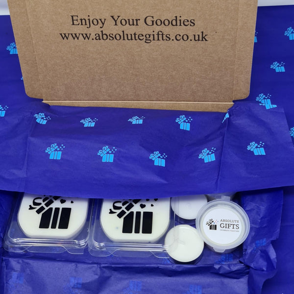 Two By Two Wax Melts Gift Box -  2 Clamshells - 2 Snap Bars - 2 Shot Pots - 3 Tealights - Packed In Blue Crepe Paper And Folder To Reveal The Text