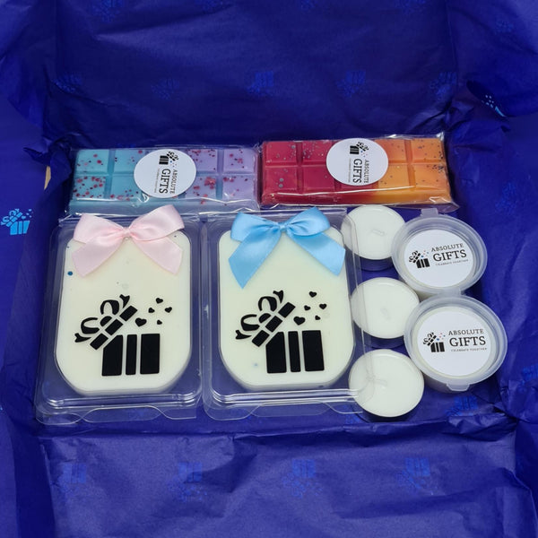 Two By Two Wax Melts Gift Box -  2 Clamshells - 2 Snap Bars - 2 Shot Pots - 3 Tealights - Packed In Blue Crepe Paper