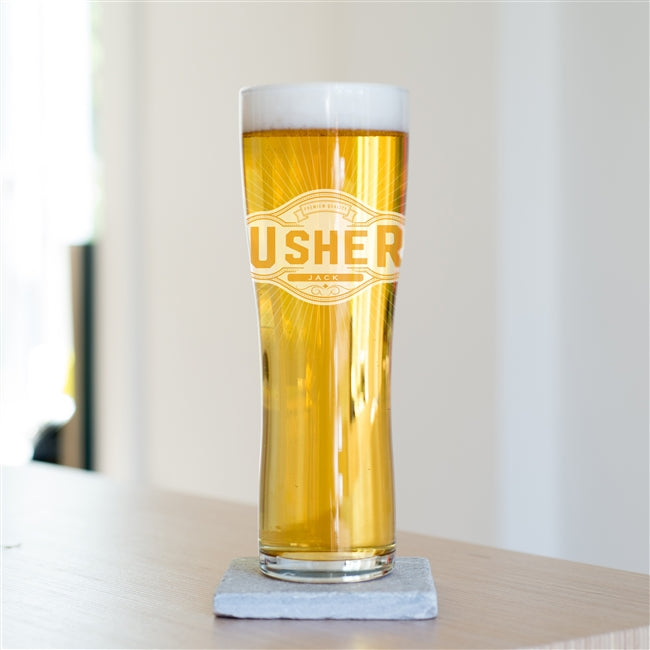 Personalised Wedding Party Pint Glasses - Usher Pint Glass