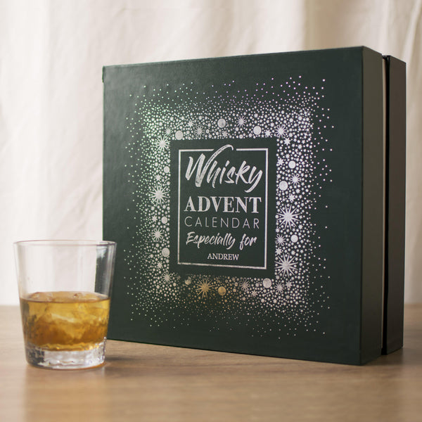 Personalised Green And Silver Whisky Advent Box With Text Reading Whisky ADVENT CALENDAY Especially for