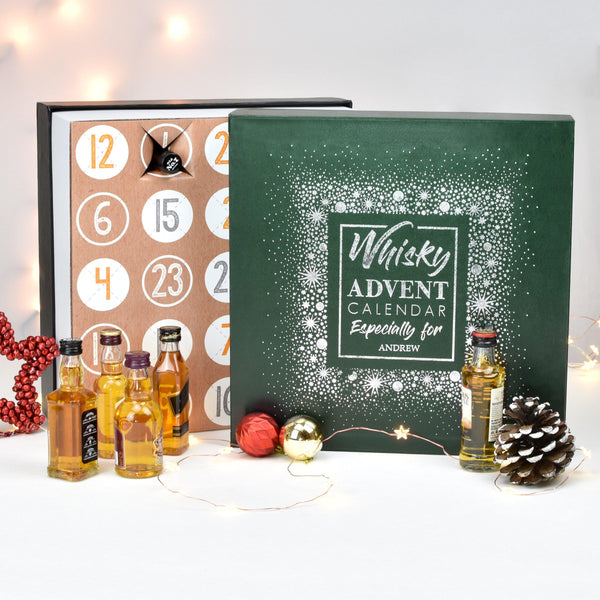 Personalised Whisky Advent Box In The Background With Whisky Miniatures Presented In Front