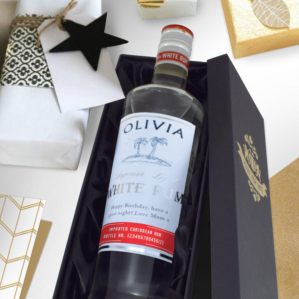 Personalised White Rum Laying In A Silk Lined Black Presentation Box