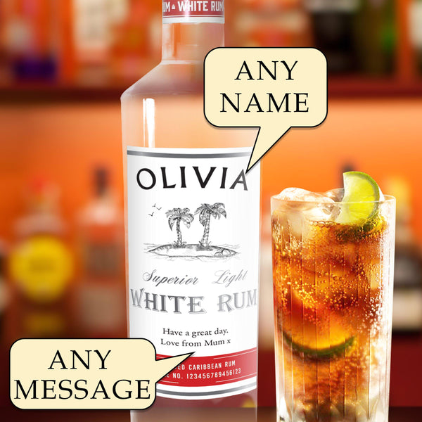 Personalised White Rum,Showing Options To Personalise A Name And A Message