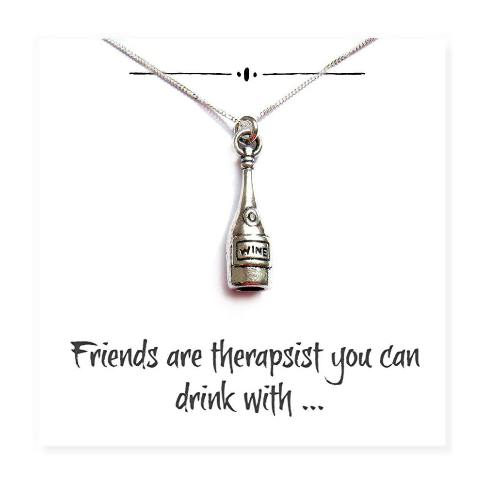 "Wine Bottle Charm Necklace on Funny Friends Message Card Reads ""Friends Are Therapists You Can Drink With"""