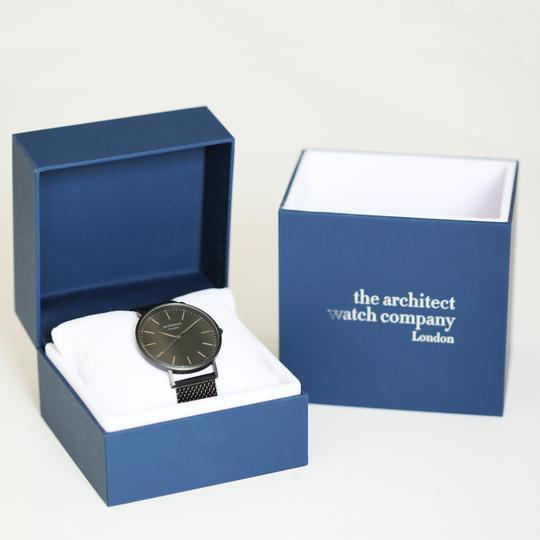 Handwriting Engraving - Men's Minimalist Watch + Pitch Black Mesh Strap -  Packaged In A Beautiful Blue Gift Box