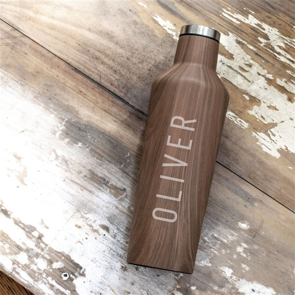 Wood effect corkcicle drinks bottle engraved with any name in a bold masculine font