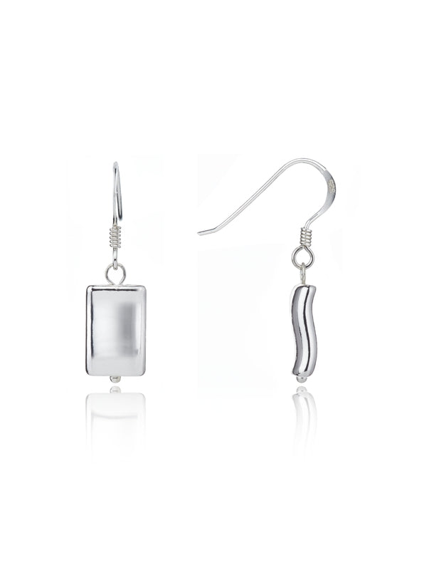 Hammered Rectangular Bead Earrings