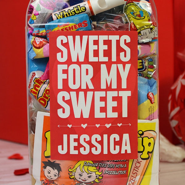Deluxe Valentine Gift Box - Jar Of Sweets - Text Reads Sweets For My Sweets With A Personalised Name Underneath