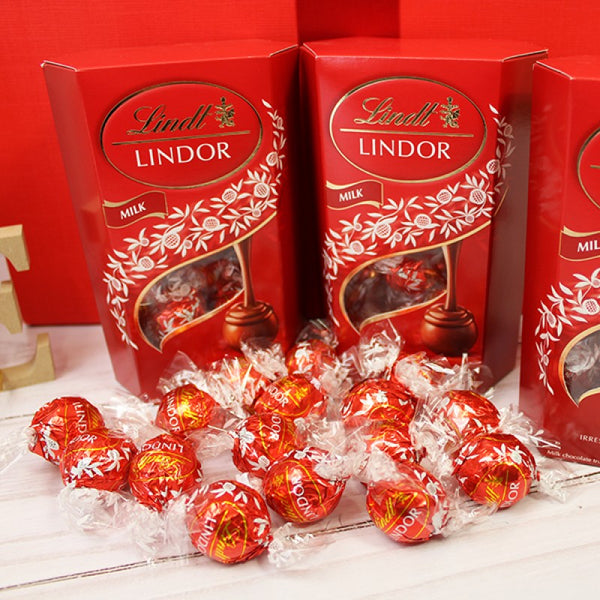 Deluxe Valentine Gift Box - Featuring Three Lindor Lindt Red Milk Chocolate Boxes