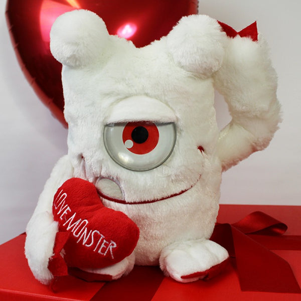 Deluxe Valentine Gift Box - Close Up Of White Cuddly Plush Teddy