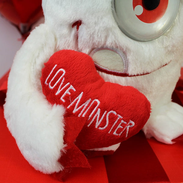 Deluxe Valentine Gift Box -  Close Up Of Heart Held By The Plush Teddy - Heart Text Reads Love Monster