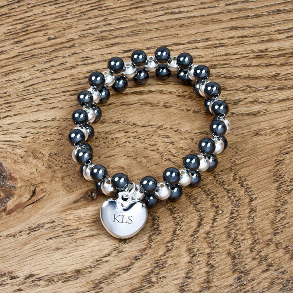 Personalised Allure Bracelet - Made From Hematite With A Silver Plated Heart