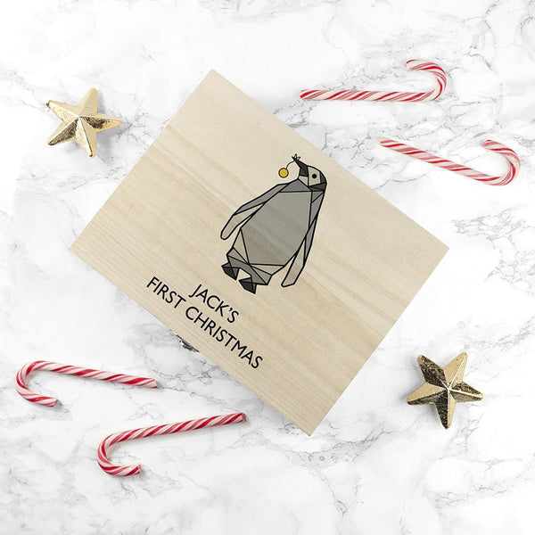 Personalised Baby Penguin First Christmas Box - Small