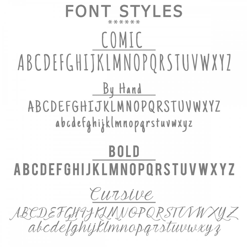 Different Font Styles Available Are Comic, By Hand, Bold And Cursive As Shown