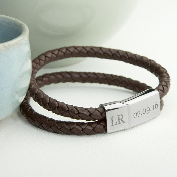Personalised Men's Dual Leather Woven Bracelet In Umber
