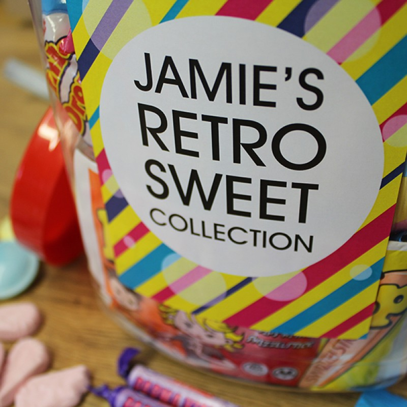 GIANT RETRO SWEET JAR PERSONALISED WITH JAMIE'S NAME