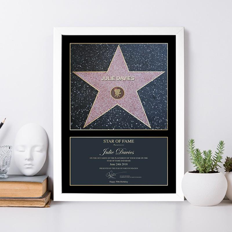 Framed Star Of Fame Personalised Print