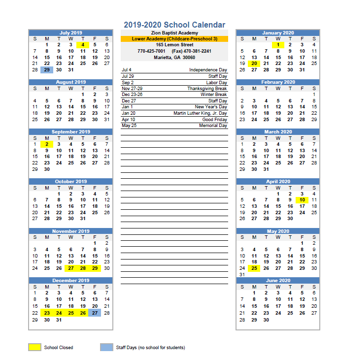 Lower Academy School Calendar