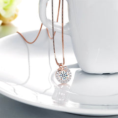 Rose Gold Sterling Silver Dancing Stone Necklace