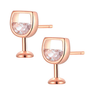 Wine Glass Cubic Zironia Earrings