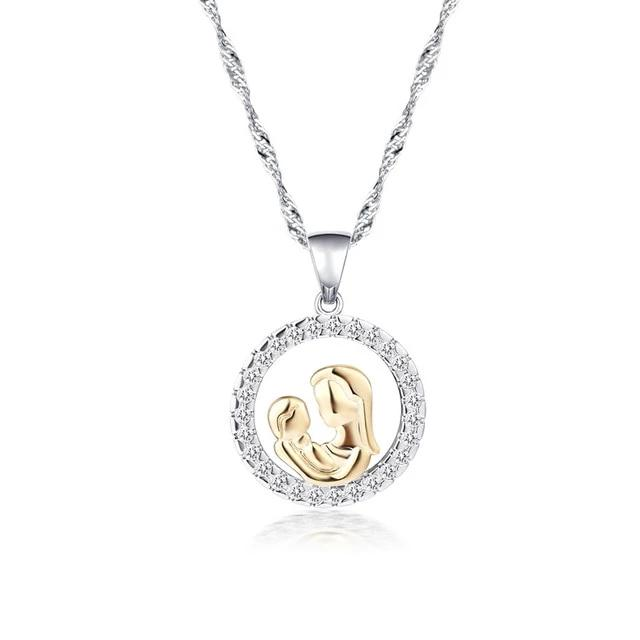 Eternal Mother and Baby Love Circle Pendant Necklace