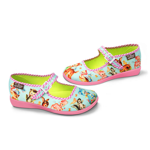 Chocolaticas® Kitschy Friends Blue Women's Mary Jane Flat