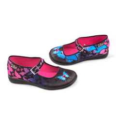 Chocolaticas® Dark Butterfly Women's Mary Jane Flat