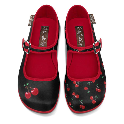 Chocolaticas® Cherry Black Women's Mary Jane Flat Shoes