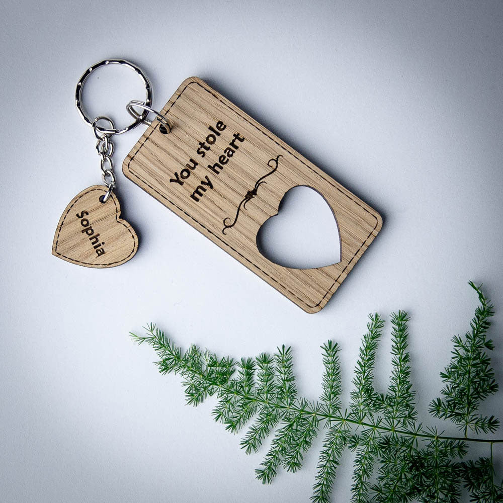 Keyring with heart personalised, wooden custom made