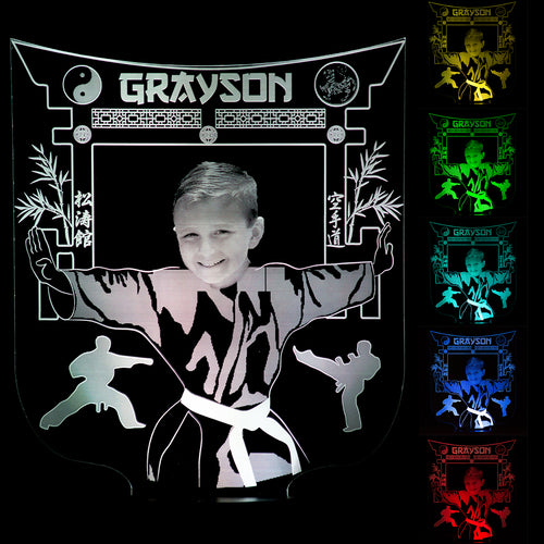 Karate Gift For Kids Personalised with Photo Name Night Light