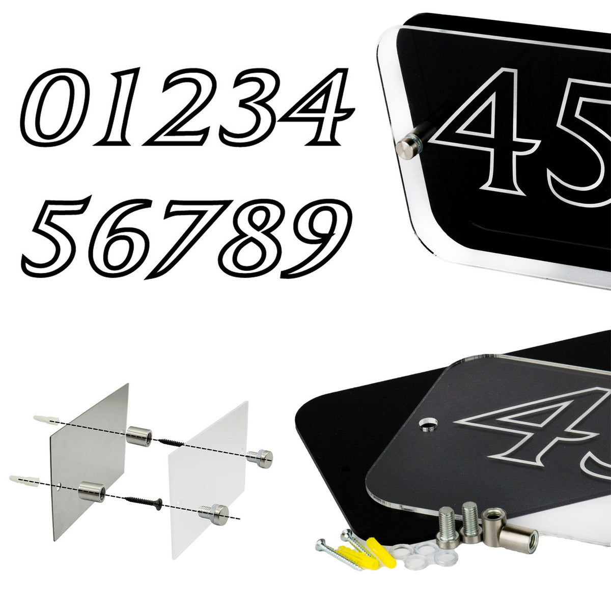 Large House Sign Number Plaque Personalised with Emblem - National Engraver