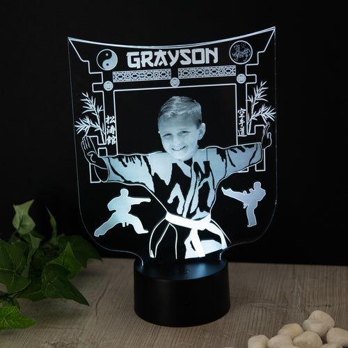 Karate Gift For Kids Personalised with Photo Name Night Light - National Engraver