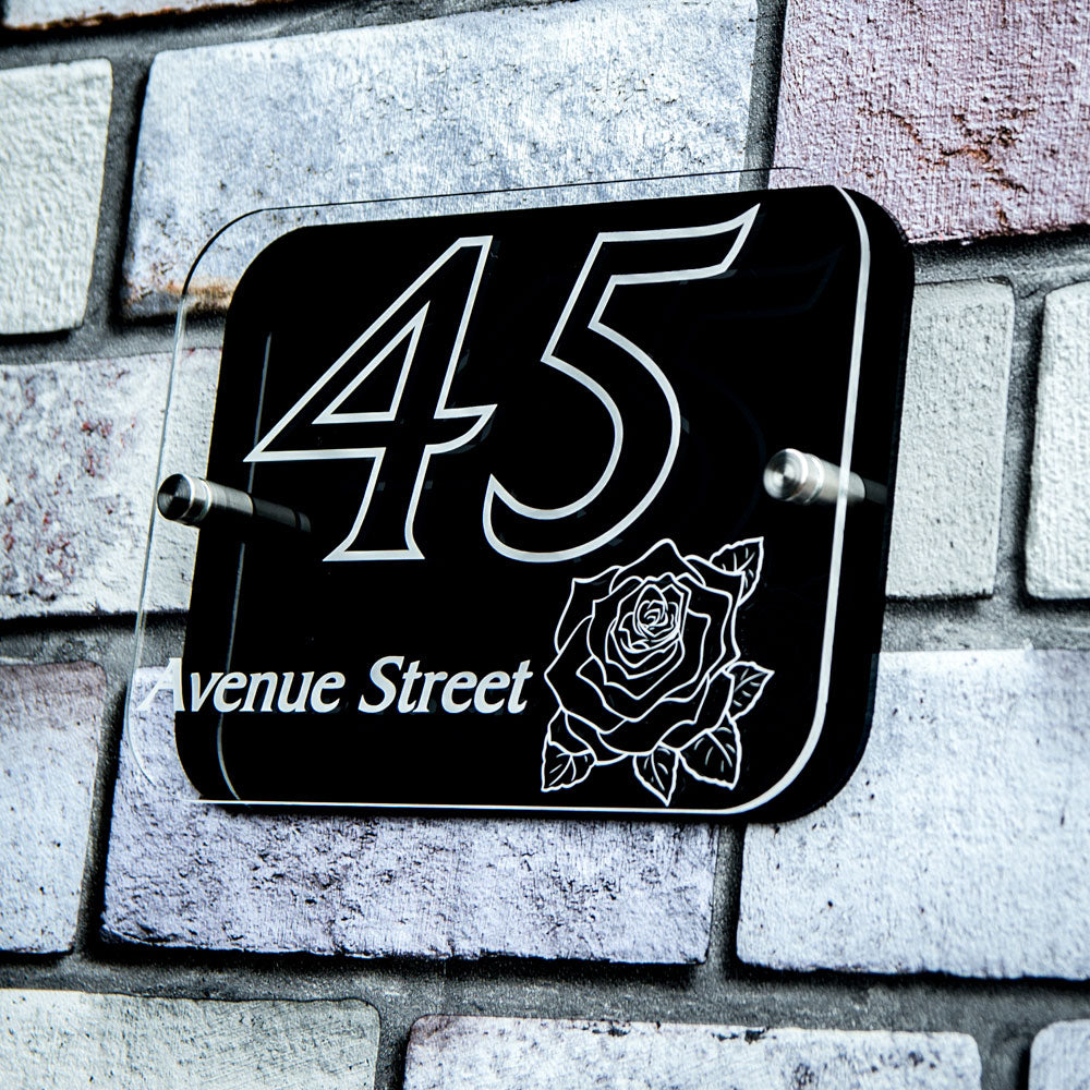 House Sign Number Plaque Personalised with Emblem - National Engraver