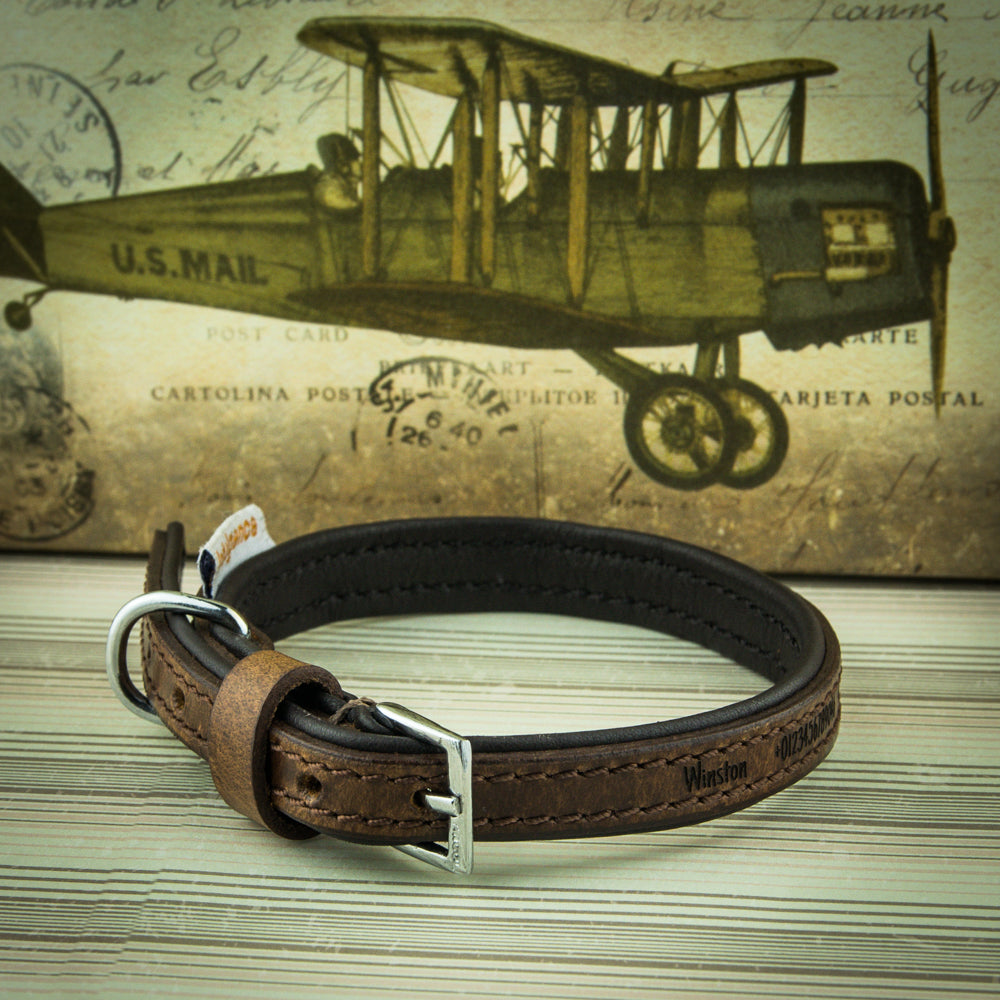 Personalised Dog Puppy Collars, Vintage Leather Padded Luxury Collar with Leads - National Engraver