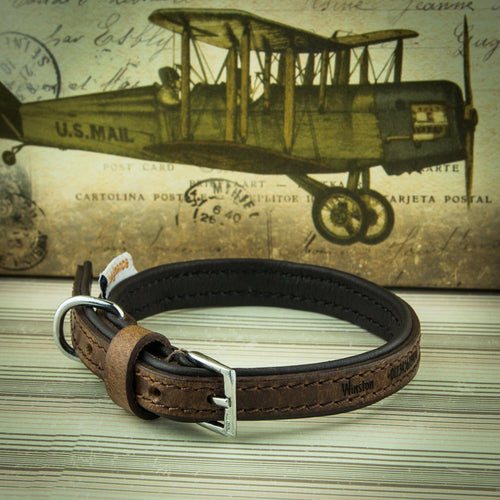 Personalised Dog Puppy Collars, Vintage Leather Padded Luxury Collar with Leads