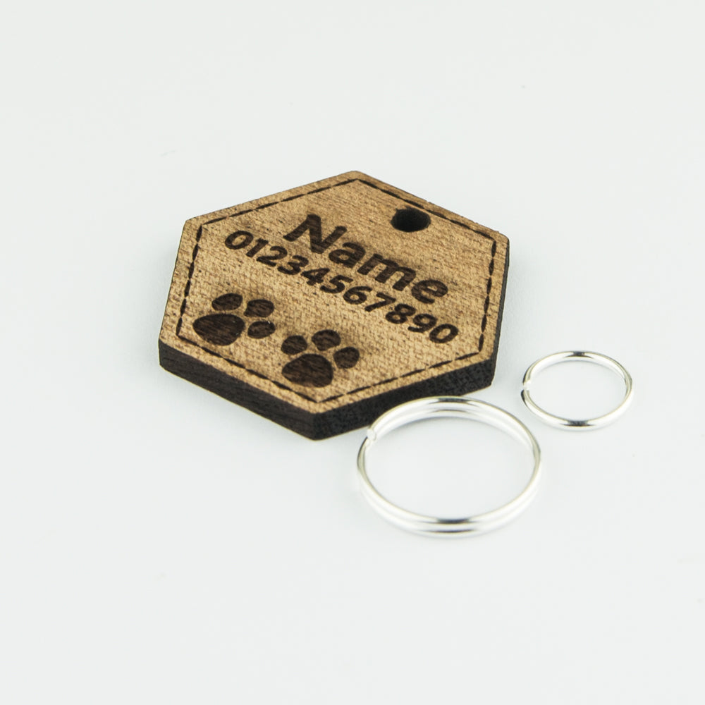 Dog Tags Name Cat Tag Wooden Personalised Engraved Pet ID