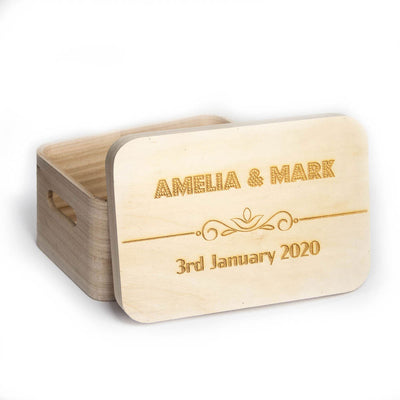Decorative Wooden Box with Lid Personalised with Engraved Name