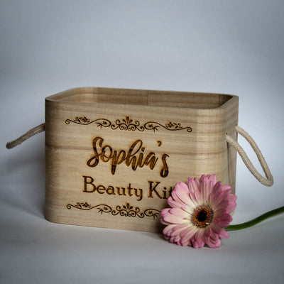 Decorative Wooden Box with Jute Handles Personalised with Engraved Name