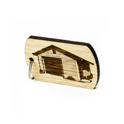 Keyring for Shed, Garage Keys Buildings Wooden Keyrings Personalised Oak