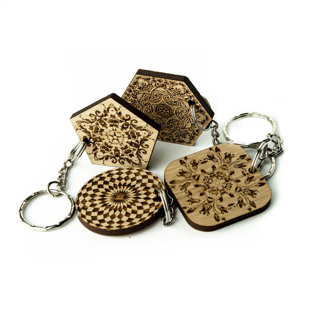 Wooden Keyring Pendant Keychain Key Hob Holder Personalised - Mandala