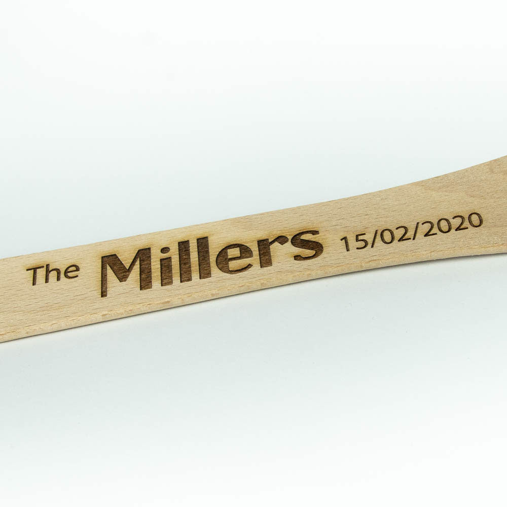 Personalised spoon fork spatula engraved, Custom wooden kitchen utensil set