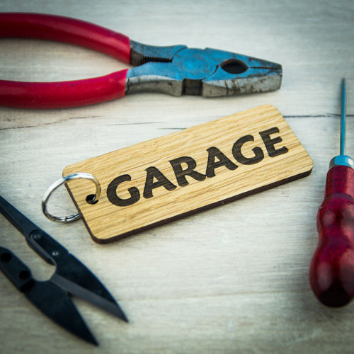 Keyring Shed, Garage, Hotel Keys Wooden Keyrings Personalised Oak Custom Made - National Engraver