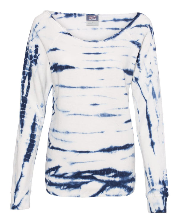 MV Sport - Women's French Terry Off-the-Shoulder Tie-Dyed Sweatshirt