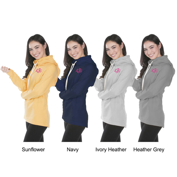 WOMEN'S ESSEX HOOD & Cowl Tunic, Monogram Fleece, Pullover, personalized, quarter zip, embroidered, sweatshirt, bridesmaid gift