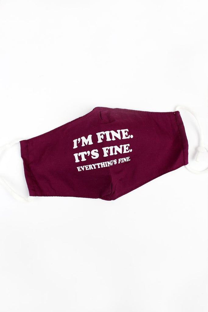 Burgundy 'i'm Fine' Two-layer Fashion Face Mask With Filter Pocket