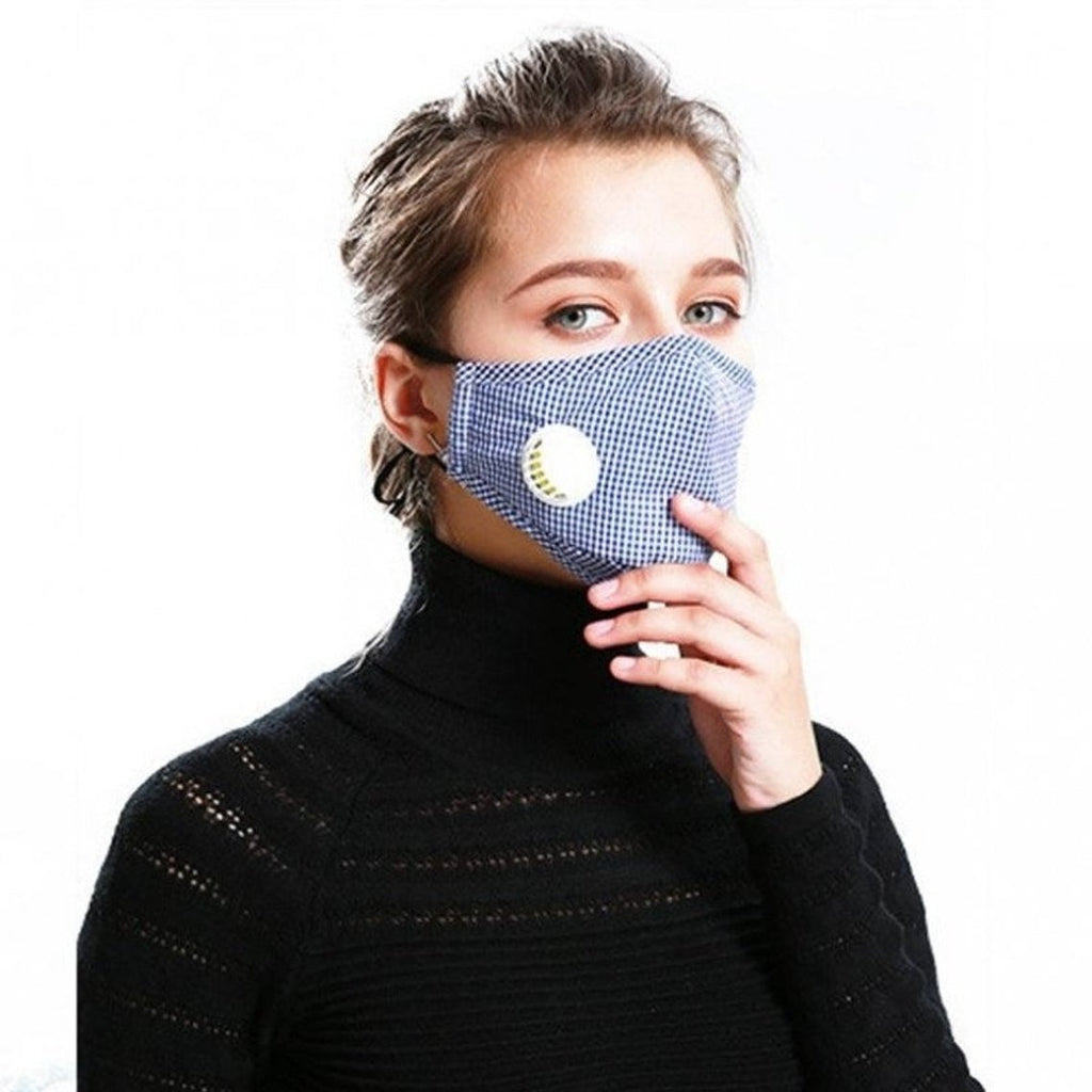Gingham Reusable Face PM2.5 Mask with Moisture Valve (5pcs)