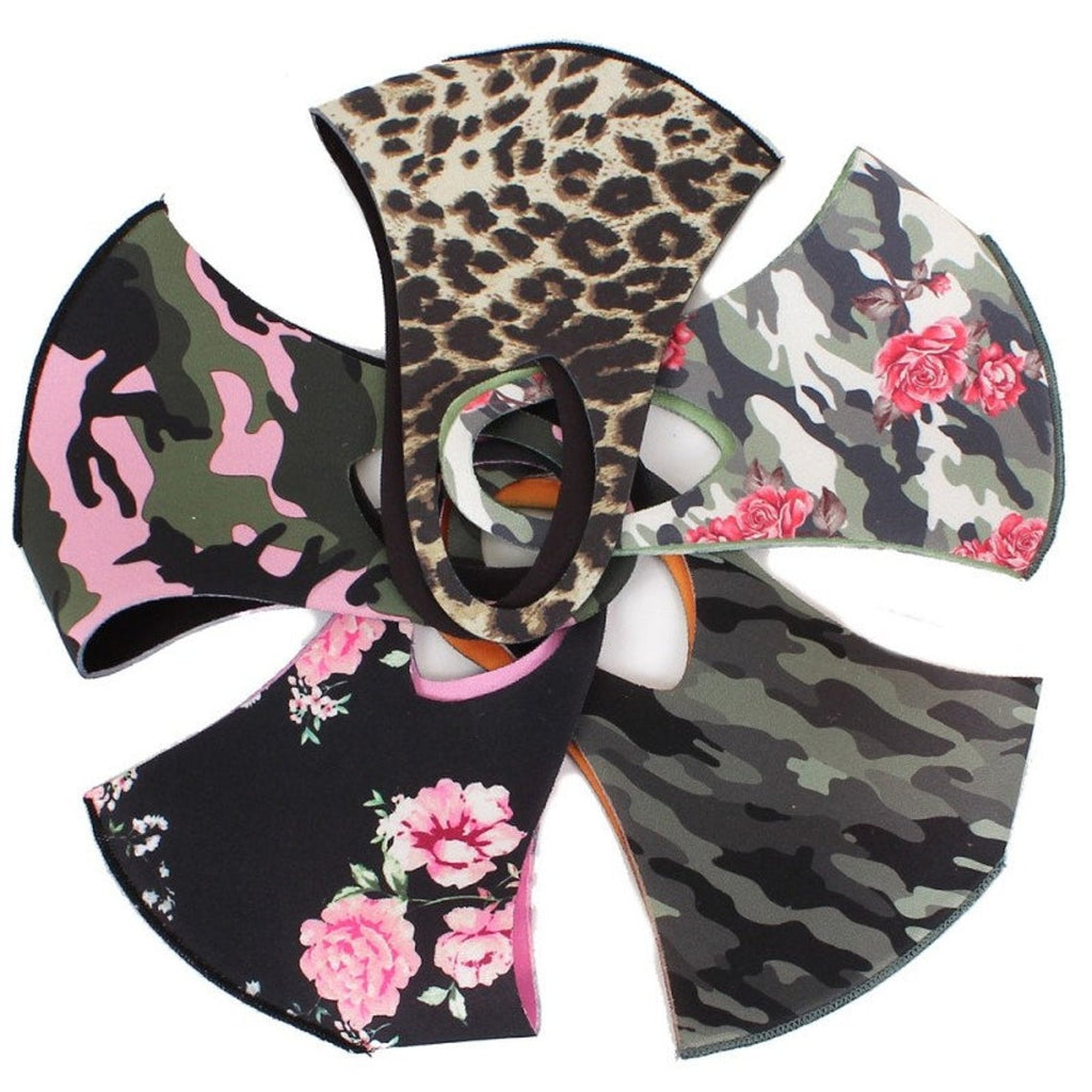 Reversible Assorted Floral & Camouflage Adult Fashion Face Mask Set (5pcs)