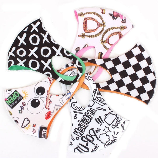 Reversible Assorted Graphics Adult Fashion Face Mask Set (5pcs)
