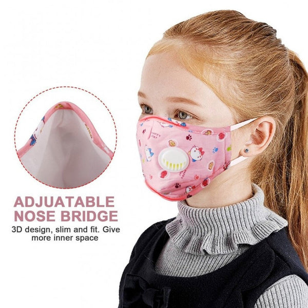 Reusable Kids Face PM2.5 Mask with Moisture Valve (3 pcs)