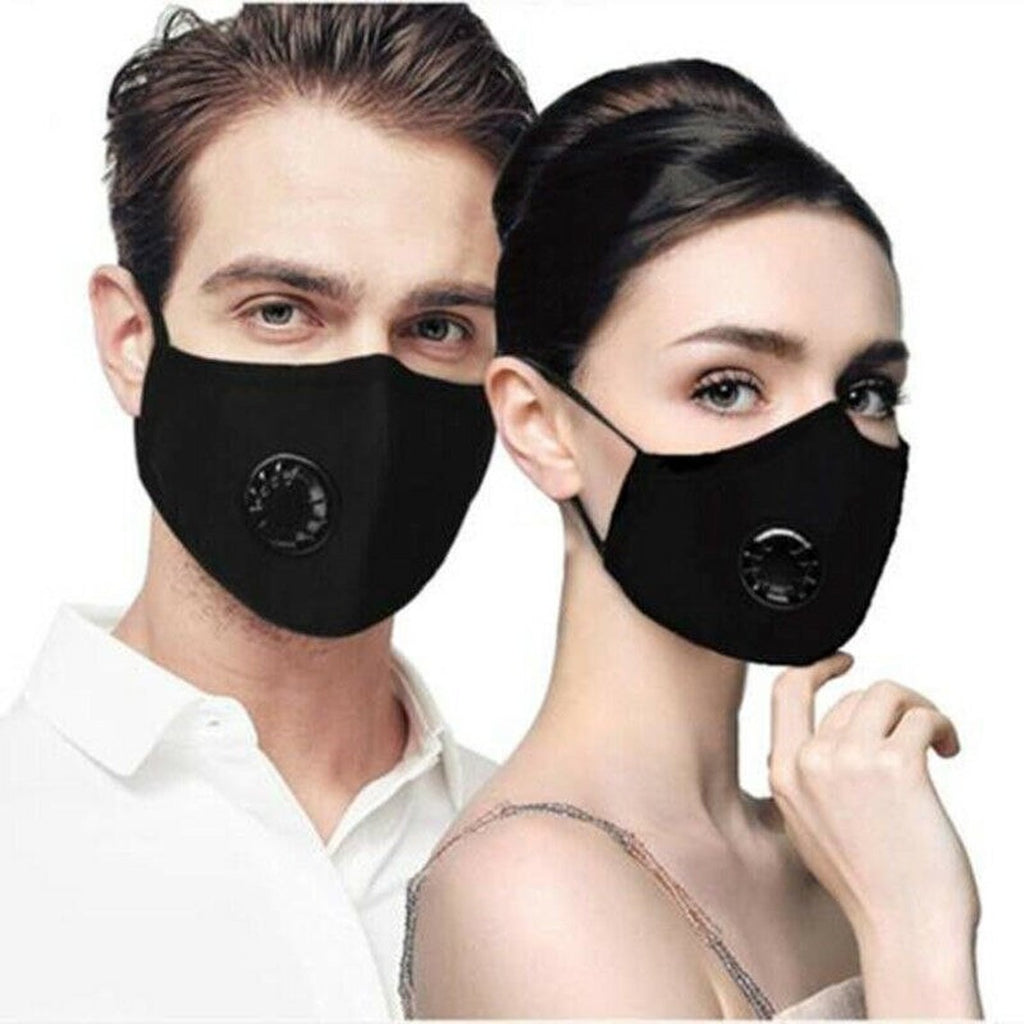 Black Reusable Face PM2.5 Mask with Moisture Valve (3pcs)